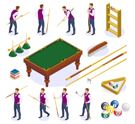Billiards isometric icons set with isolated images of table cue sticks and balls with human characters vector illustration Illusztráció