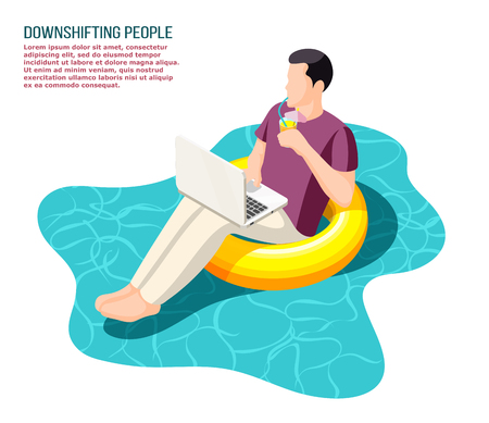 Downshifting escaping office people  working with notebook sitting relaxed on floating swim ring isometric composition vector illustration Çizim