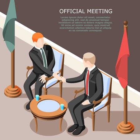 Politicians during hand shake at official meeting isometric background vector illustration