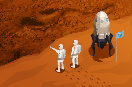 Mars exploration isometric poster with two astronauts near space ship arrived on red planet vector illustration Illustration