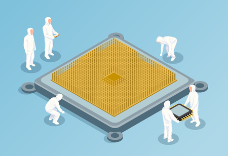 Semiconductor isometric vector illustration with big image of cpu in center and people in white technological clothing for clean rooms