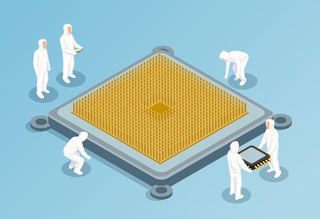 Illustration vectorielle isométrique de semi-conducteur avec une grande image du processeur au centre et des personnes en vêtements technologiques blancs pour les salles blanches