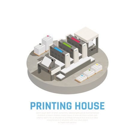 Printing house facility equipment isometric composition with offset press preprint cutting binding brochures documents round vector illustration
