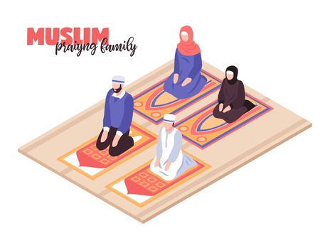 Arab people praying concept with men and women praying isometric vector llustration