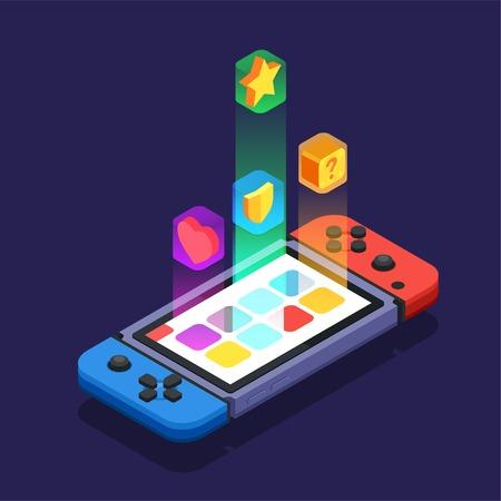 Gaming-Entwicklung für das mehrfarbige abstrakte Designkonzept der mobilen App mit einer Spielkonsole, die mit Bildschirm und isometrischer Vektorillustration ausgestattet ist