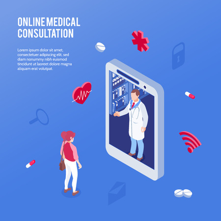 Colored and isometric online medicine doctor concept with online medical consultation headline vector illustration