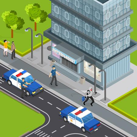 Law justice police service isometric composition with burglar caught stealing handbag from pedestrians arrest scene vector illustration Illustration