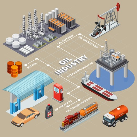 Oil industry isometric infographics with means of transportation extraction equipment products and refinery 3d vector illustration Illustration