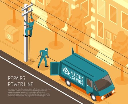 Isometric electrician background with view of city street and power line being repaired by two linemen vector illustration Archivio Fotografico - 112909422