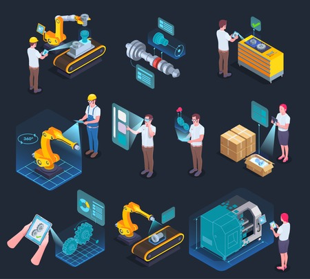Industrial applications of augmented reality supporting manufacturing process technology isometric elements collection black background isolated vector illustration Stock fotó - 112909423
