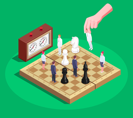 Chess game allegory concept isometric composition with players hand moving human figures as chessboard pieces vector illustration