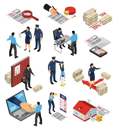 Isometric tax inspector auditor set with isolated icons and images of tax remission payments and dodging vector illustration