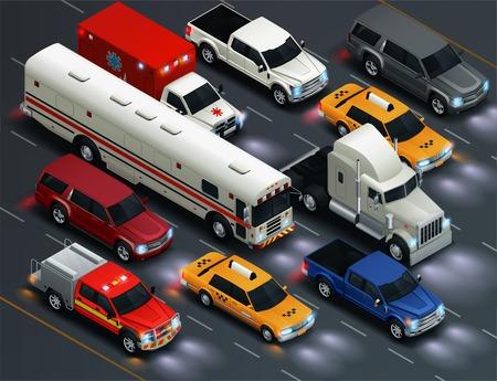 Composición de transporte isométrico realista de tráfico de la calle con luces de vehículos de recogida de ambulancia de camioneta de autobús taxi en ilustración vectorial