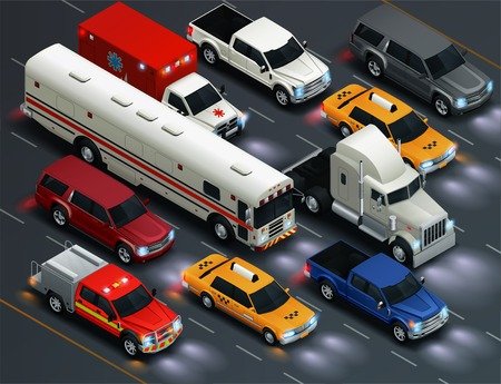 Street traffic realistic isometric transportation composition with bus taxi van ambulance pickup vehicles lights on vector illustration
