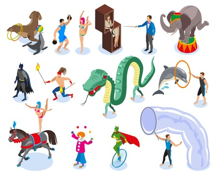 Performers and entertainment icons set with circus symbols flat isolated vector illustration