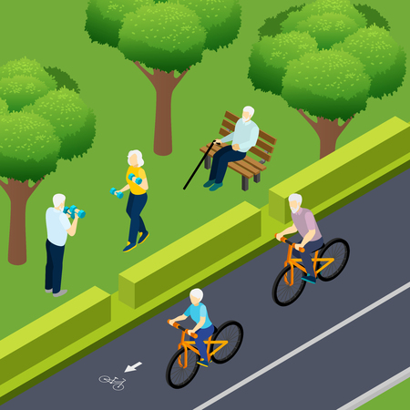Pensioners during outdoor activity bicycle riding fitness and lonely elderly man sitting on bench isometric vector illustration