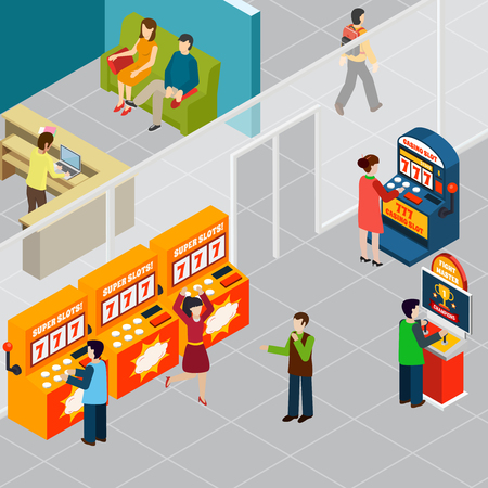 Happy people playing game machines 3d isometric vector illustration