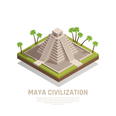 Mayan pyramid with stairs and cult temple at top of stone construction isometric composition vector illustration