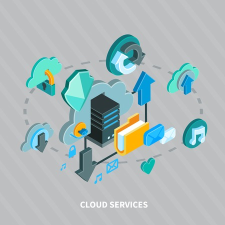 Cloud services and secure file storage isometric concept on grey background 3d vector illustration