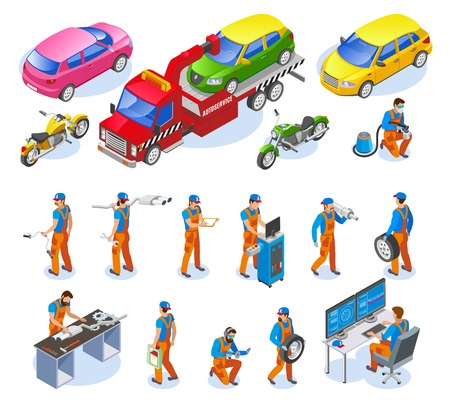 Auto service icons set with truck and motorbike service symbols isometric isolated vector illustration