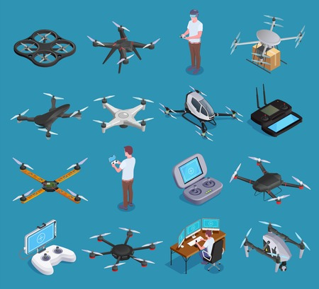 Drones quadrocopters hexacopters air transportation delivery surveillance with virtual reality remote controllers isometric set isolated vector illustration