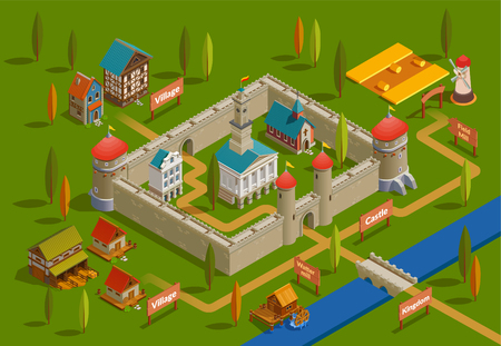 Medieval fortified castle surrounding area with farm bridge  water mill nobility houses church isometric flowchart vector illustration