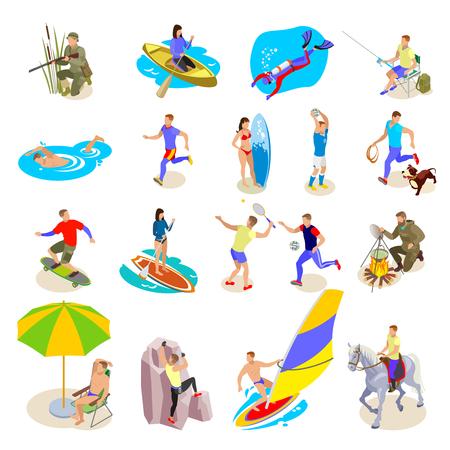 Le icone di attività all'aperto hanno messo con l'illustrazione isometrica di vettore isolata simboli di ricreazione e di sport