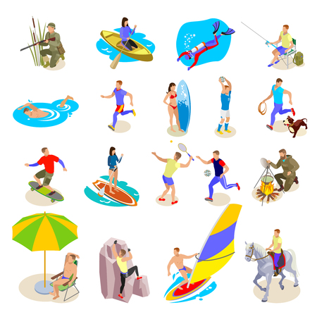 Outdoor activities icons set with sports and recreation symbols isometric isolated vector illustration Çizim