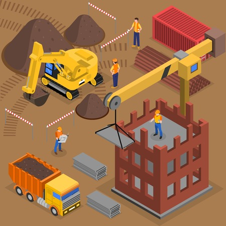 Construction isometric composition with images of building machinery workers and crane near high rise block under construction vector illustration