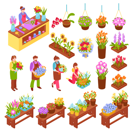 Florist isometric set of bouquets of flowers in pots and vases for flower shop with employee and seller isolated vector illustration