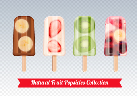 Fruit ice cream realistic set of frozen fruity icecream stick confection images on transparent background vector illustration Illustration