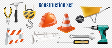 Construction realistic set of handle instrument and devices for safety outdoor work on transparent background isolated vector illustration 일러스트