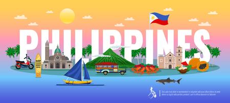De typografische samenstelling van Filippijnen met traditioneel voedsel diverse oriëntatiepunten en dieren op gradiëntachtergrond horizontale vectorillustratie