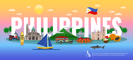 Philippinen typografische Zusammensetzung mit traditionellem Essen verschiedene Sehenswürdigkeiten und Tiere auf horizontaler Vektorillustration mit Farbverlauf