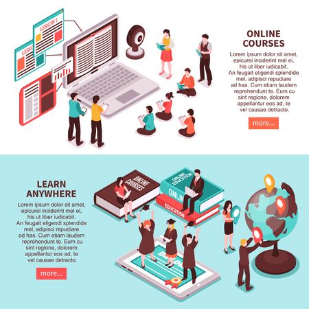 Learn anywhere horizontal banners promoting studying on web courses in any point of world isometric vector illustration Vetores