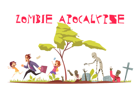 Zombie attack concept with apocalypse and fear symbols flat vector illustration Illustration
