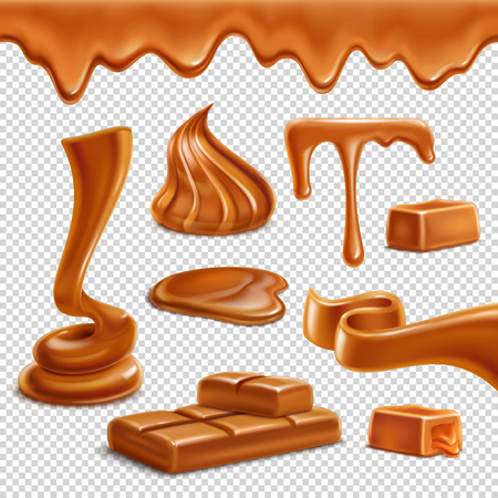 Caramel toffee melted border drops puddles spiral figures candies bar sweets realistic set transparent background vector illustration