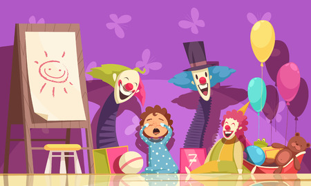 Kids fears background with clowns and parties symbols vector illustration