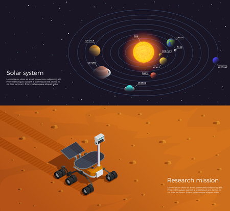 Mars colonization two horizontal banners illustrated solar system and research mission isometric compositions vector illustration