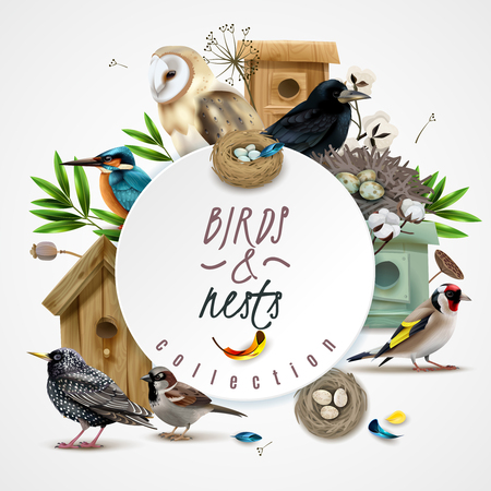 Birds nests frame composition with images of bird houses leaves and circle spot with editable text vector illustration Stock Illustratie