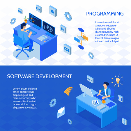 Set of horizontal isometric banners programmers during coding and development of software isolated vector illustration