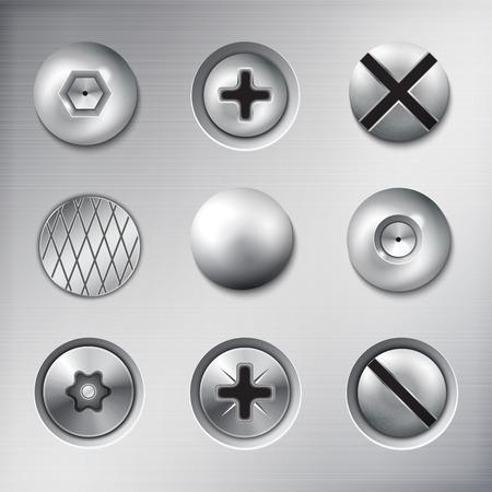 Satz realistische befestigte Befestigungselemente Schrauben Bolzen Nägel auf Metall Textur Hintergrund isoliert Vektor-Illustration Vektorgrafik