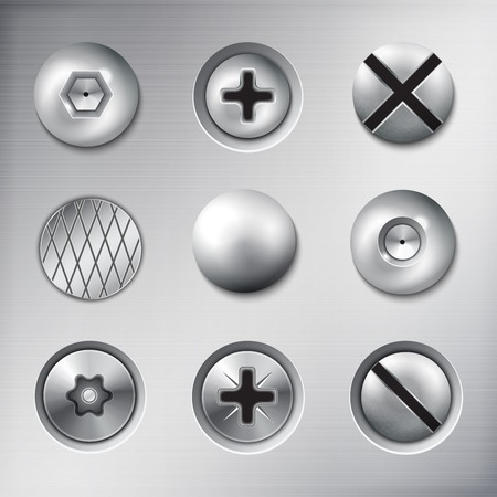 Set of realistic attached fasteners screws bolts nails on metal texture background isolated vector illustration 矢量图像
