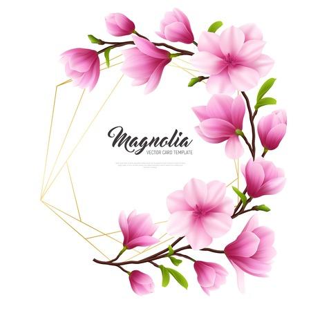 Illustration de fleur de magnolia réaliste colorée avec composition or et rose illustration vectorielle élégante et beauté Vecteurs