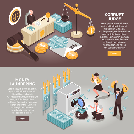Corruption horizontal banners with text information about theft of public money and corrupt judges isometric vector illustration Illustration