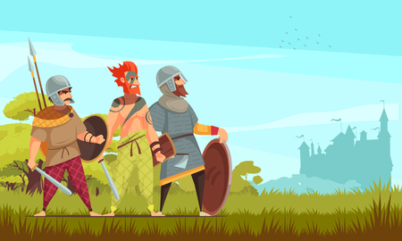 Ancient hunter background with weapons and wild animals flat vector illustration