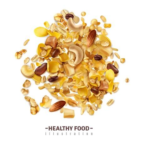 Realistisches Müsli-Superfood isolierter Hintergrund mit bearbeitbarem Text und fruchtigem Getreide mischen auf leerer Oberflächenvektorillustration