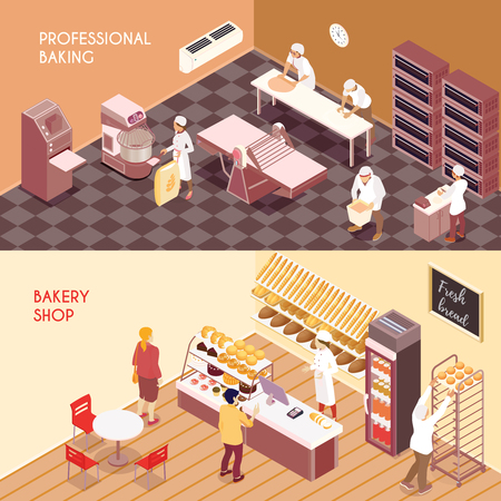 Set of horizontal isometric banners professional making of flour products and bakery shop isolated vector illustration