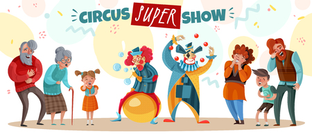 Elderly people adults and children laughing at circus clown show cartoon vector illustration Illustration