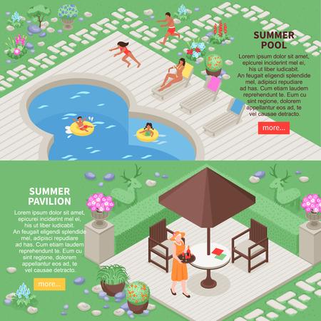 Landscape design horizontal banners set with summer pool symbols isometric isolated vector illustration